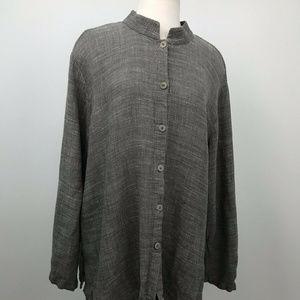 Eileen Fisher Mandarin Collar Buttoned Top Sz-2x